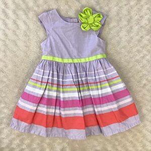 Cherokee Spring Dress Size 2T Purple Green Stripes